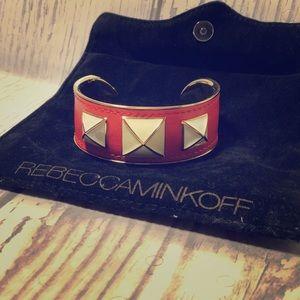 Rebecca Minkoff orange studded cuff bracelet